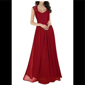 Long red lace bridesmaid or prom dress